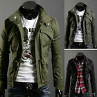 Mens Slim Fit Military Style Jacket Stand Collar Coat Hoody Overcoat Spring New