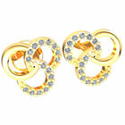 FixedPrice0.1ctw genuine round cut diamond ladies trinity knot earrings solid 10k gold
