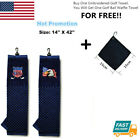 "Embroidered Tri-fold Golf Towel 16"" X 22"" With Free Ball Waffle Towel USA Eagle"