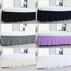 US Ship Wrap Around Bed Skirt Elastic Dust Ruffle 15 Inch Drop 4 Size Wrinkle image