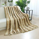 Reversible Thick Soft Striped Faux Fur Blanket w/ White Berber Reverse 2 Colors image