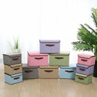 Collapsible Fabric Storage Bin Box Cube Organizer with Lid & Faux Leather Handle