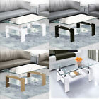 Rectangle Coffee Table Tempered Glass With Shelf Storage White Black Oak Modern