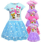 Children Kids Girls Short Sleeve LOL Surprise Dolls Pleated Party Princess Dress