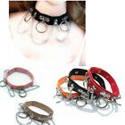 Fashion Punk Gothic O Ring Leather Collar BDSM Chain Choker Metal Link Necklace