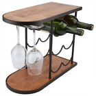 6/8 Bottles Red Wine Rack Red Wine Holder Shelf Stand with Glass Cups Hanger