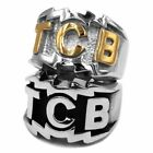 TCB Elvis Presley Biker Ring Collection Stainless Steel Jewelry Carved Letters