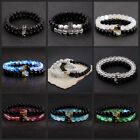 2Pcs Couple King Queen Crown Bracelet His And Her Friendship 8mm Beads Bracelets