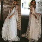 Womens Mesh Sheer Star Glitter Maxi Long Dress Party Evening Cocktail Ball Gown $19.75 USD on eBay