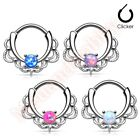 Lace Design Synthetic Opal Septum Nose Clicker Ring Body Piercing Jewellery