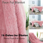 Solid Decorative Long Shaggy Faux Fur Blanket Fuzzy Microfiber Lightweight Soft image