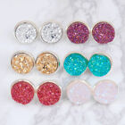 Fashion Colorful Druzy Ear Post Stud Earrings Round Silver Plated W/ Stoppers  image