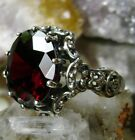 10ct Round Cut Red Garnet Sterling Silver Gothic Filigree Ring Made To Order