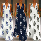 ZANZEA Women Sleeveless Bohemia Long Maxi Dress Summer Beach Party Sundress Plus