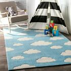 nuLOOM Hand Tufted Kids Cloudy Sachiko Area Rug in Blue
