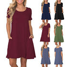 Women Solid Color Short Sleeve O-Neck Swing T-Shirt Dress with Pockets Sanwood