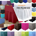 Plain Poly Cotton Extra Deep Fitted Valance Sheets Frilled Valance + Free Cases image