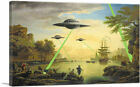 ARTCANVAS Flying Saucers Aliens Canvas Art Print by Banksy