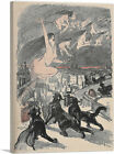 Big Black Cats Howl Naked Witches Ascend Canvas Art Print Theophile Steinlen