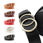 Double Round Circle Buckle Women Waist Belt for Ladies Jeans Causal Waistband