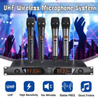 UHF Dual Wireless Microphone System Handheld Cordless Karaoke Mic LCD Audio