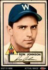 1952 Topps #190 Don Johnson Cream Back Senators GOOD
