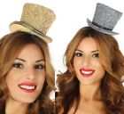 Ladies Mens Gold Silver Glitter Mini Top Hat New Year Fancy Dress Costume Outfit
