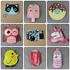 Cute Bag charm coin Purse keyring dangler 3 in 1 Unicorn Owl Cat Donut Coca Cola £3.99  on eBay