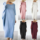 ZANZEA Women Batwing Oversize Long Shirt Dress Maxi Dress Full Length Kaftan Top