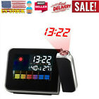 LED Color Digital LCD Snooze Alarm Clock Weather Backlight Display Projection