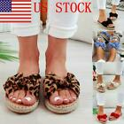 US STOCK Summer Womens Slides Bow-Knot Sandals Soft Casual Beach Slippers Shoes