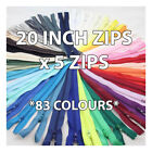 20 INCH No:3 NYLON CLOSED END ZIPS ! 83 COLOURS ! ZIPPERS SEWING DRESSMAKING