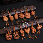 Chinese Zodiac Carving Wooden Pendant Keychain Key Ring Bag Hanging Decor Code