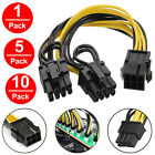 Lot PCI-E 6-pin to 2x 6+2-pin(6-pin/8-pin) Power Splitter Cable PCIE PCI Express