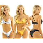 Women's Bikini Set Metallic Push-Up Swimwear Swimsuit Bathing Crop Top Underwear