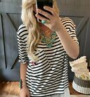 New Women's Black & White Striped Patch Sporty Tee Tunic Top Blouse Sizes S - XL