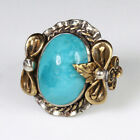 Vintage Native American Silver Over 100 Natural Blue Turquoise Ring RCT1