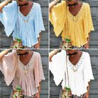 Women's Tops Ladies Holiday Half Sleeve T-Shirt Blouse Beach Hollow Out Stylish