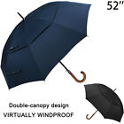 52''Wooden Large Double Golf Umbrella Men Women Windproof Auto Open J Grip Stick