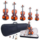 Glarry 5 Sizes Matte Spruce Wood Acoustic Violin Package + Case+Bow+Extra String
