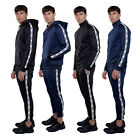 Mens Tricot Slim Fit Jogging Bottoms Pants or Hooded Funnel Zip Top Gym S-XXL