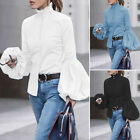Women Puff Sleeve Casual Blouse Ladies Button Up High Neck Shirt Top Oversized