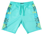 PINK DOLPHIN WAVES STAMP SHORTS BOTTOMS ATHLETIC FIT AQUA