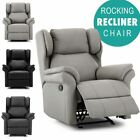 OAKFORD WING BACK BONDED LEATHER RECLINER ROCKING  ARMCHAIR GAMING LOUNGE CHAIR
