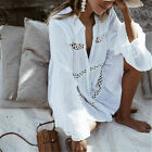 Bohemian White Cotton Button Up Embroidered Tunic Top Festival Blouse M L Xl