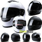 DOT Motorcycle Helmet Full Face Scooter Crash Motorbike Solid/Matt Black/White