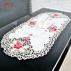 4Pcs Oval Embroidered Floral Tablecloth Table Cloth/Mat Wedding Party Decoration