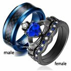 Couple Rings Black Plated Titanium Steel Ring Mens Wedding Band Womens Ring Sets image