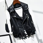 Ladies Vintage Coats Faux Leather Waistcoat Gilet Biker Slim Sleeveless Jacket