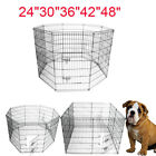 "24""30""36""42""48""Tall Wire Fence Pet Dog Cat Folding Exercise Yard Play Pen 8Panel"